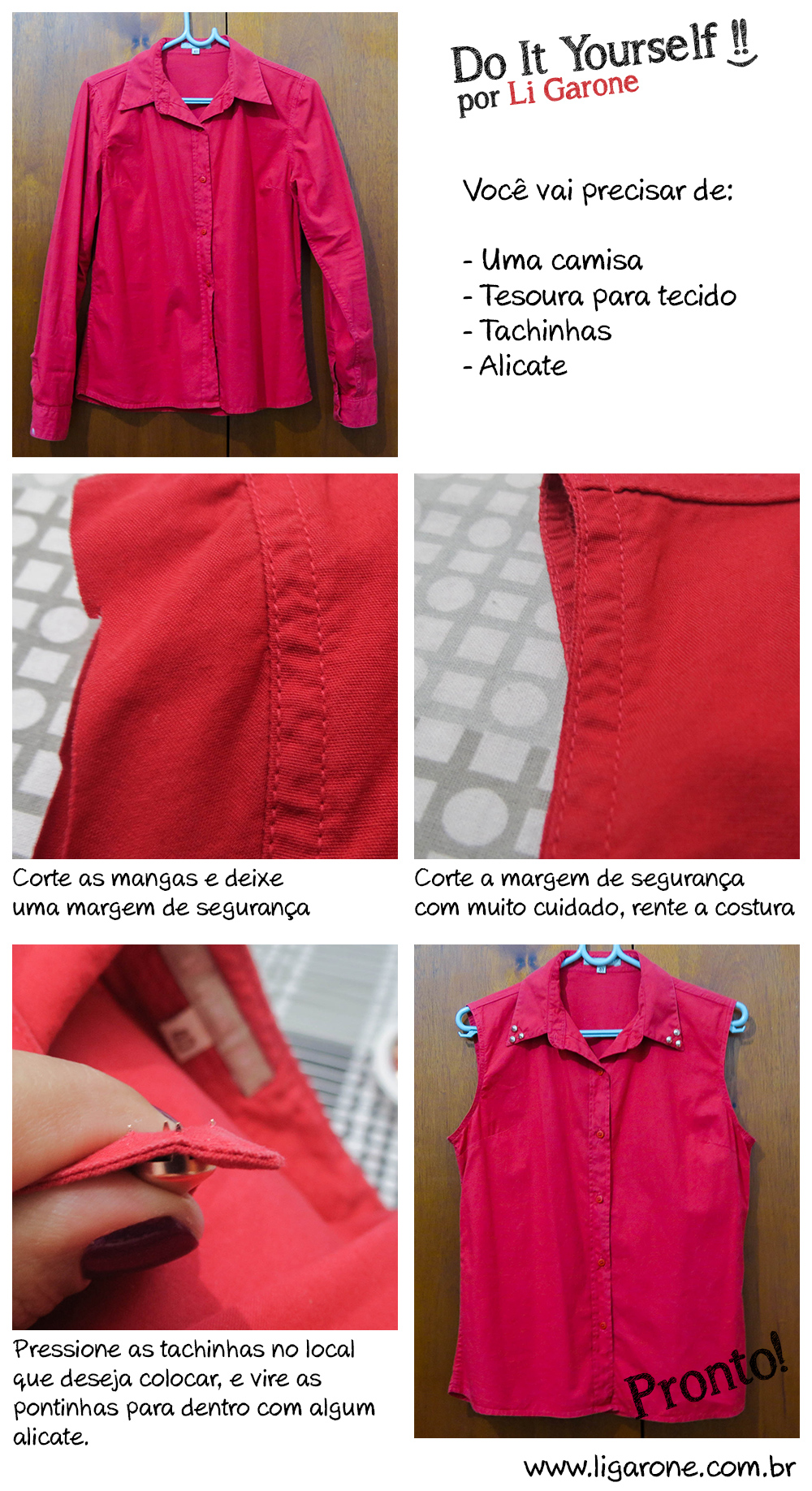 DIY - Camisa com tachinhas