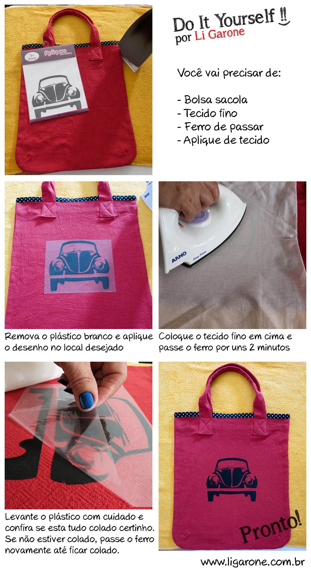 DIY Bolsa com aplique