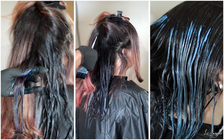 Sequencia de imagens com o procedimento de coloração para cabelo azul